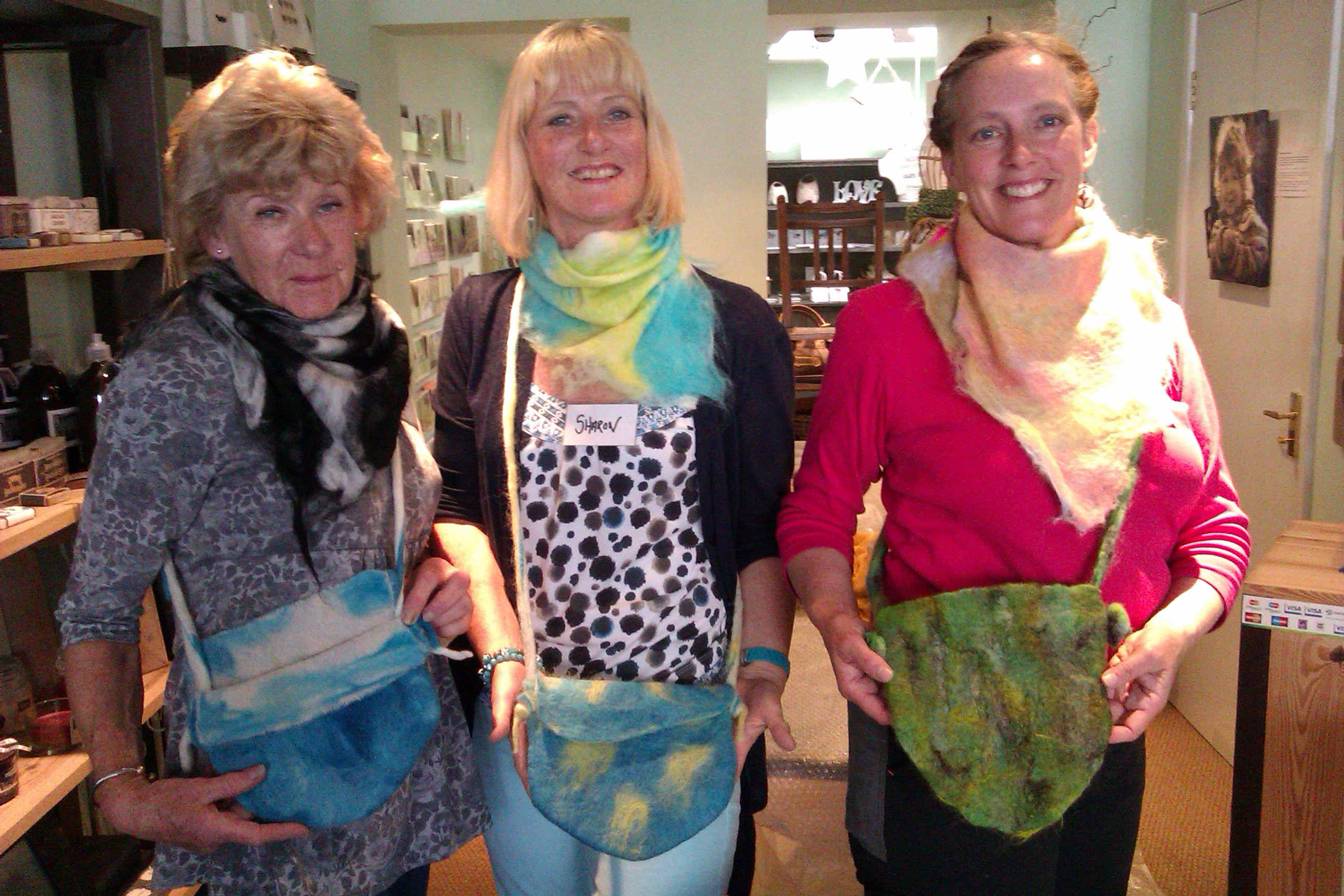 Felted scarves and bags